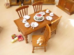 ミニチュアダイニングテーブル 長方形卓+椅子4脚 ウォールナット